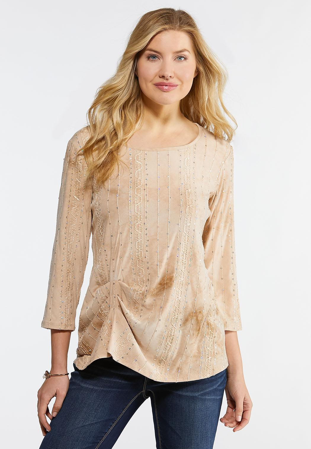 Cinched Sequin Ribbon Top