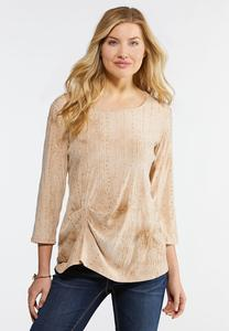 Plus Size Cinched Sequin Ribbon Top