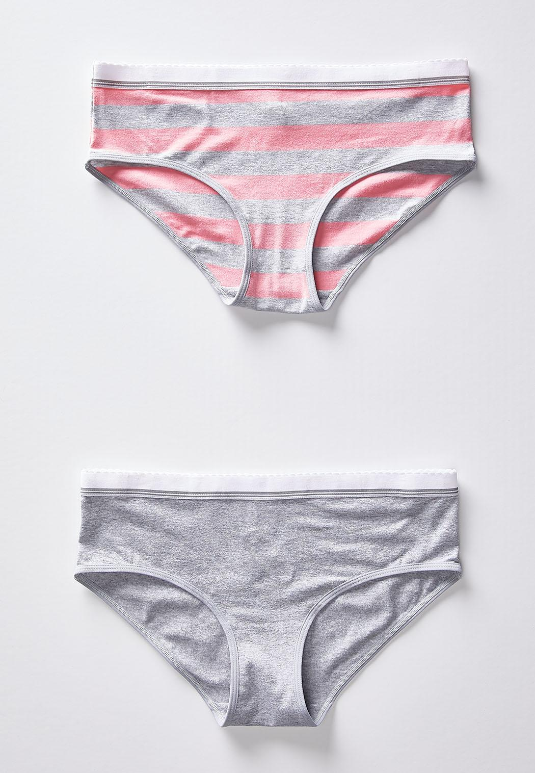 89c3635c68d Plus Size Pink And Gray Striped Set Panties Cato Fashions