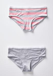 Plus Size Pink And Gray Striped Set