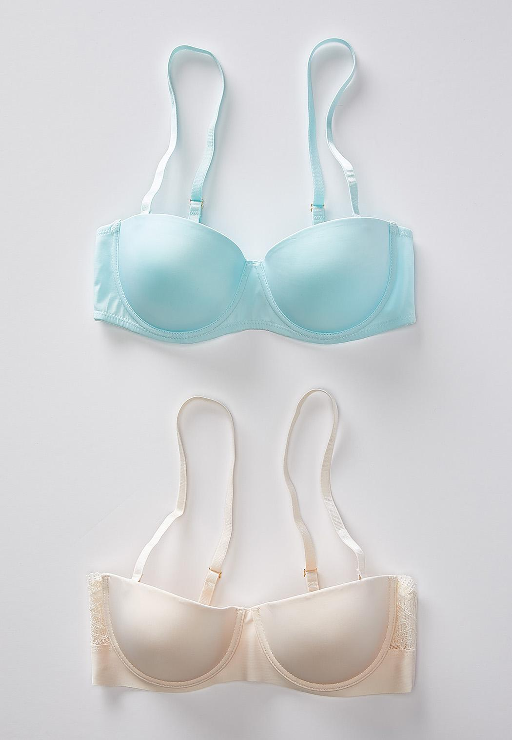 Plus Size Ivory And Aqua Convertible Bra Set