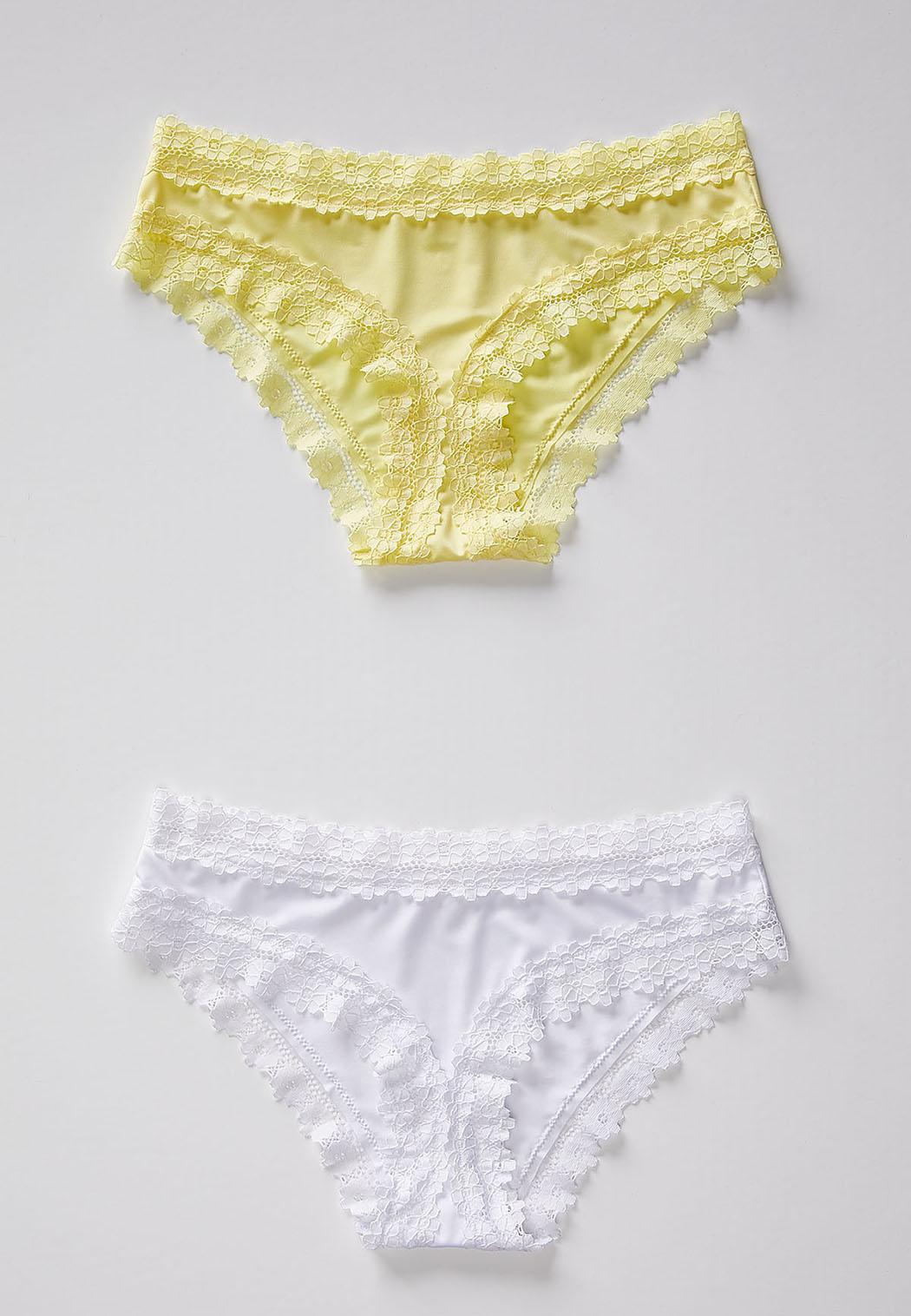 Plus Size Lace Trim Yellow And White Panty Set