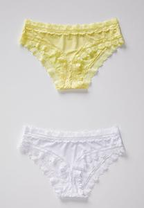 Plus Size Lace Trim Yellow And White Panty Set