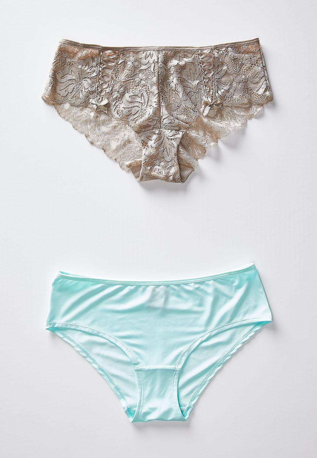 Tan Lace And Aqua Hipster Panty Set