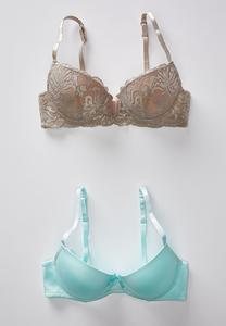 Plus Size Tan Lace And Aqua Bra Set
