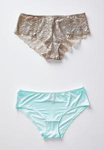 Plus Size Tan Lace And Aqua Hipster Panty Set