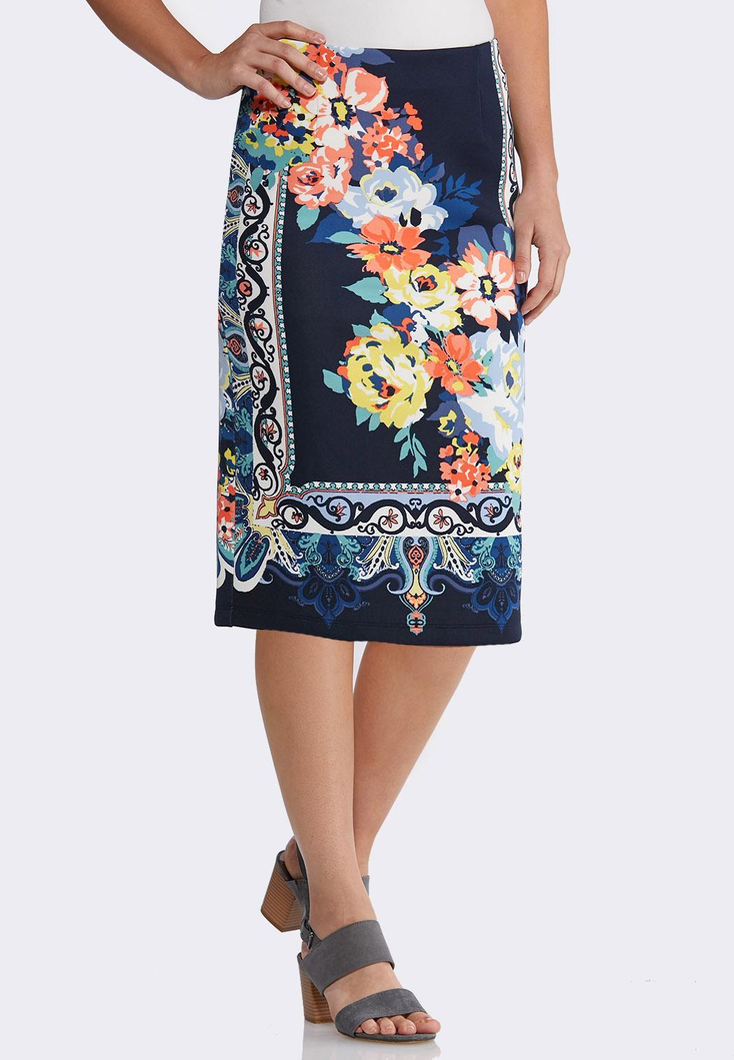 Plus Floral Paisley Pencil Skirt