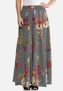 Floral Stripe Swing Maxi Skirt