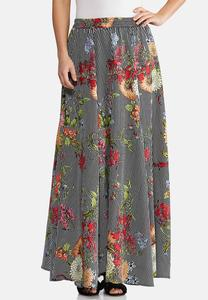 Plus Size Floral Stripe Swing Maxi Skirt