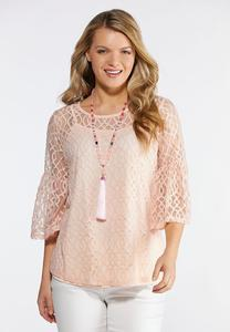 Geo Mesh Flutter Sleeve Top