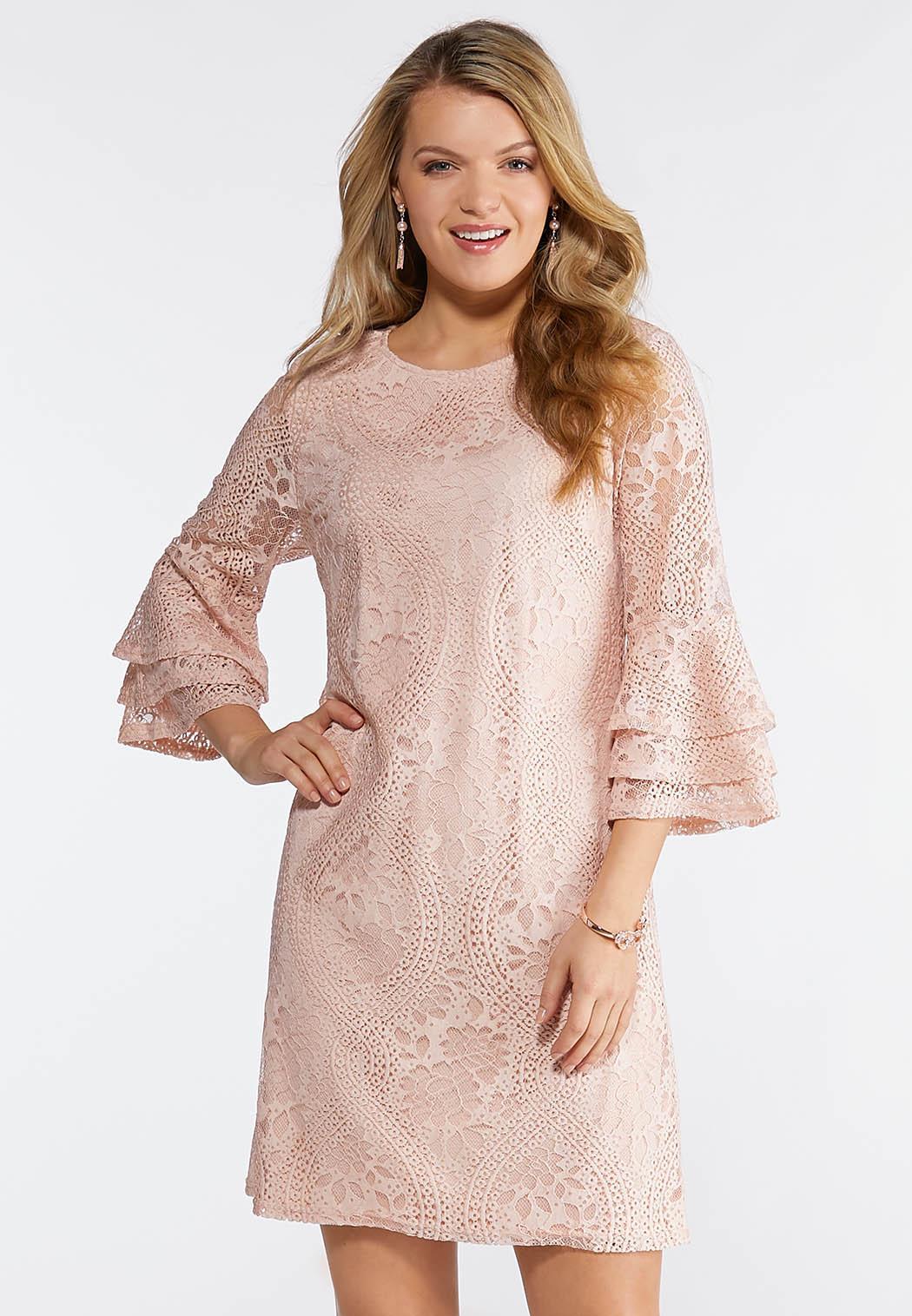 Plus Size Pink Lace Ruffle Sleeve Dress