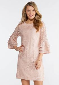 Plus Size Pink Lace Ruffle Sleeve Dress