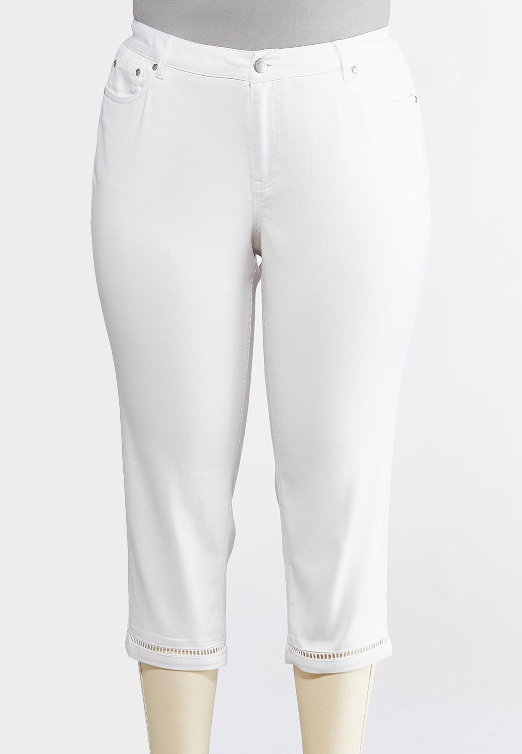 Plus Size White Inset Cropped Jeans
