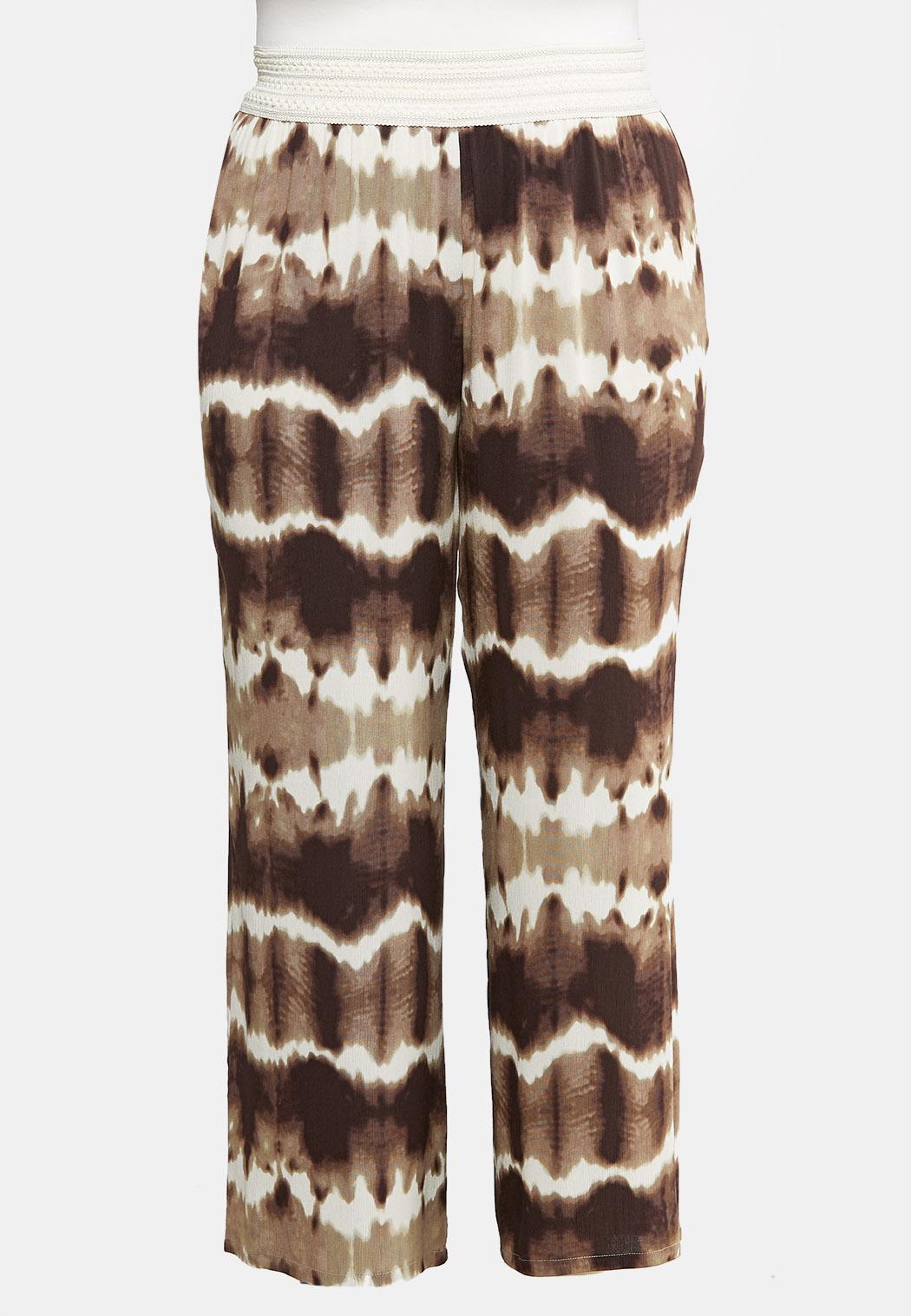 Plus Size Crochet Waist Gauze Palazzo Pants