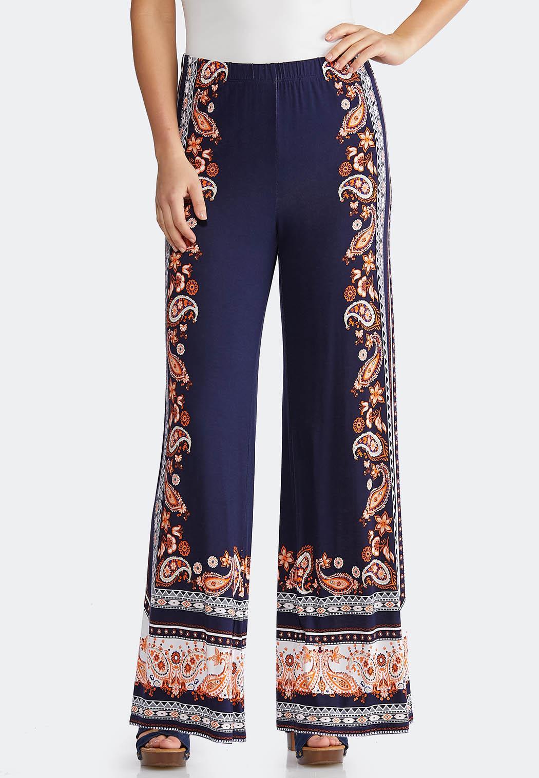6ee6d41ba27 Petite Paisley Border Print Palazzo Pants Petite Pants Cato Fashions