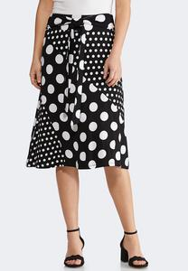 Mixed Dotted Midi Skirt