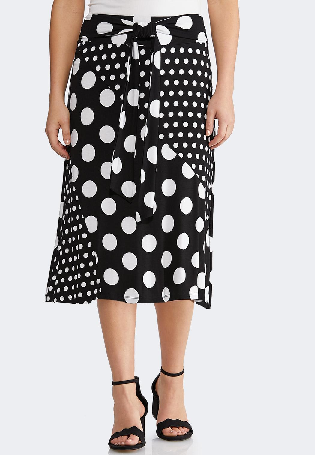 Plus Size Mixed Dotted Midi Skirt
