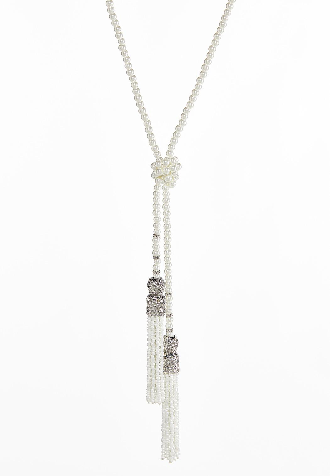 Knotted Pearl Bead Tassel Necklace