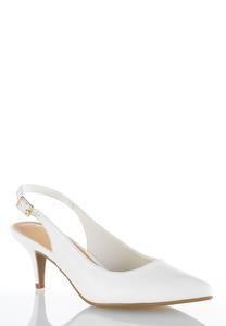 Wide Width Slingback White Pumps