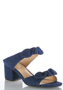 Wide Width Double Bow Denim Mules