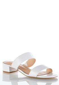 Wide Width Two Band Slide Sandals