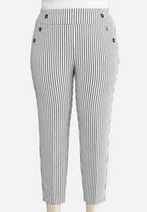 Plus Size Striped Button Ankle Pants