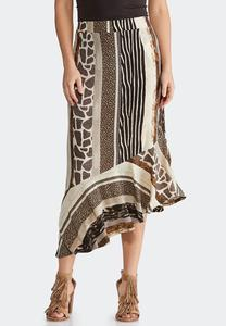 Plus Size Mixed Animal Midi Skirt