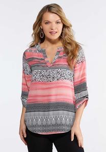 Plus Size Mod Stripe Pullover Top