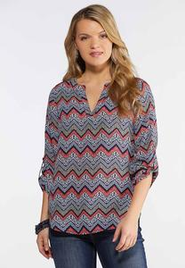 Plus Size Mixed Chevron Pullover Top