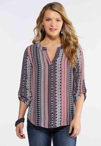 Plus Size Navy Aztec Pullover Top