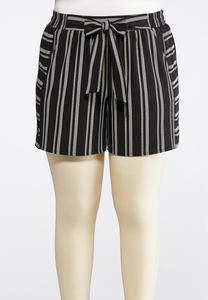 Plus Size Contrast Stripe Woven Shorts