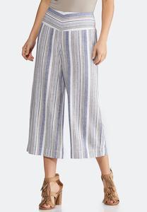 Cropped Stripe Linen Pants