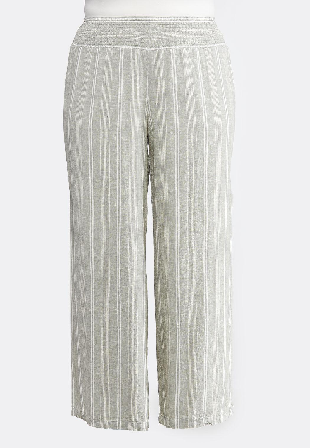 Plus Size Stripe Wide Leg Linen Pants