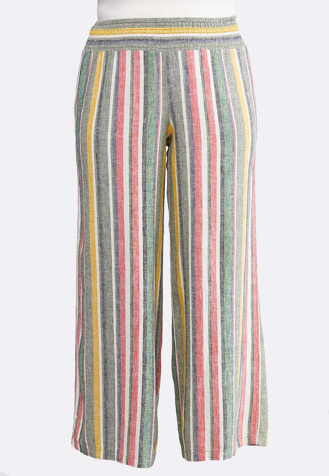 top-rated new cheap structural disablities Plus Size Stripe Wide Leg Linen Pants Pants Cato Fashions