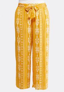 Plus Size Tie Waist Printed Palazzo Pants