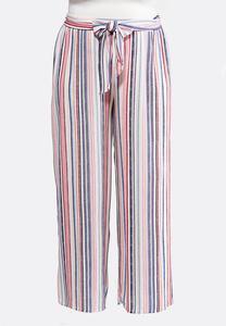 7d4effdcb6e08 Plus Size Tie Waist Printed Palazzo Pants