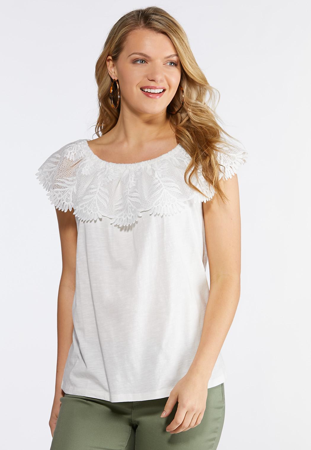 7d263a5572fdd Plus Size Floral Lace Off The Shoulder Top Tanks   Camis Cato Fashions