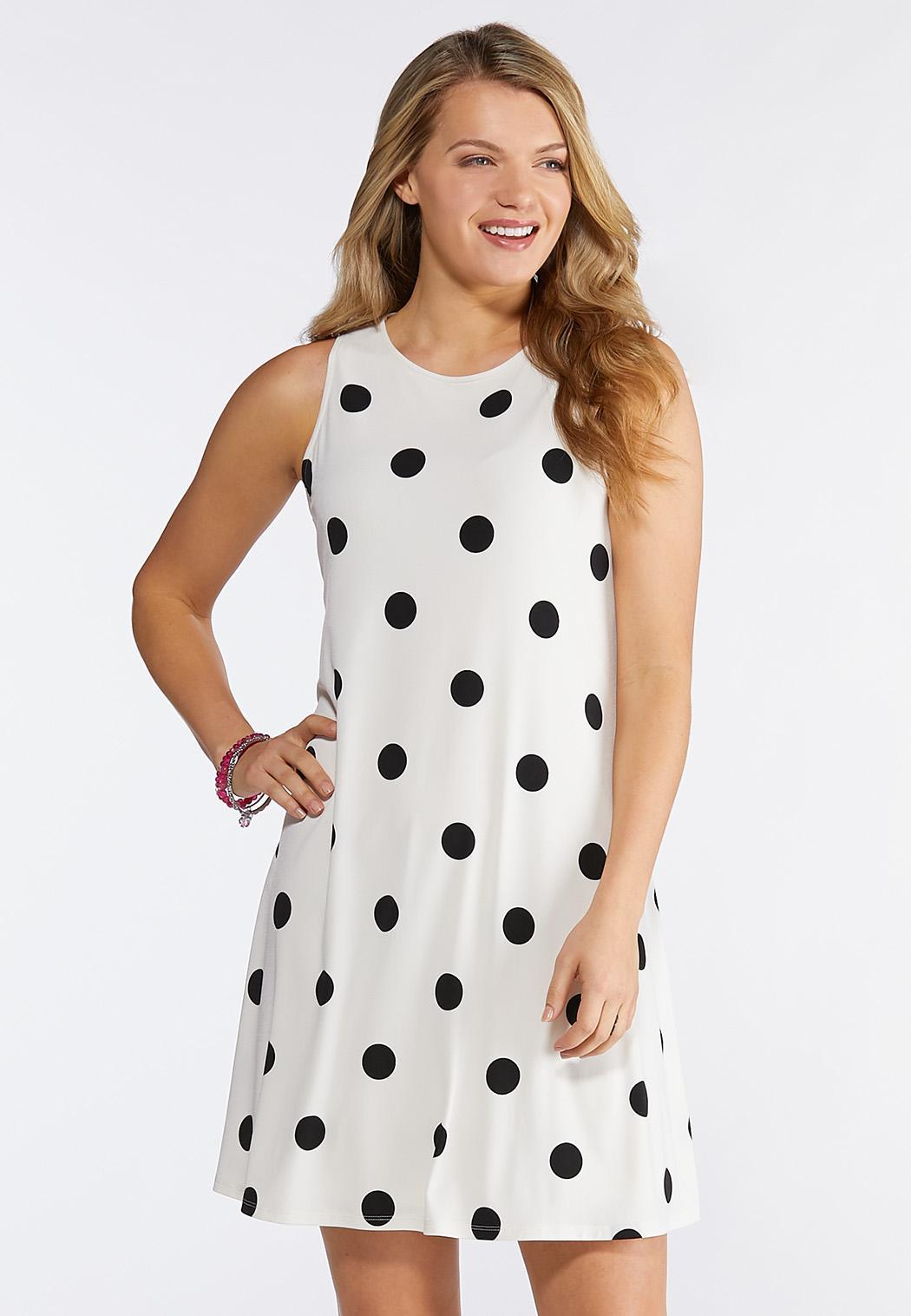 Plus Size Polka Dot Swing Dress A-line & Swing Cato Fashions