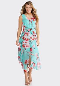 30793df5d1f Plus Size Turquoise Floral Maxi Dress