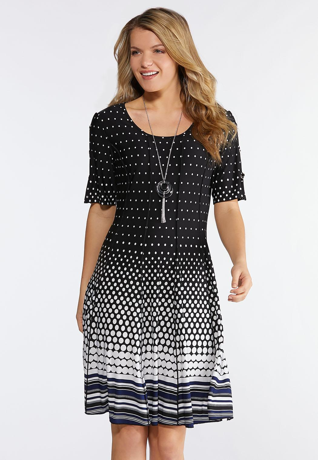 Plus Size Dotted Embellished Sleeve Dress A-line & Swing Cato Fashions