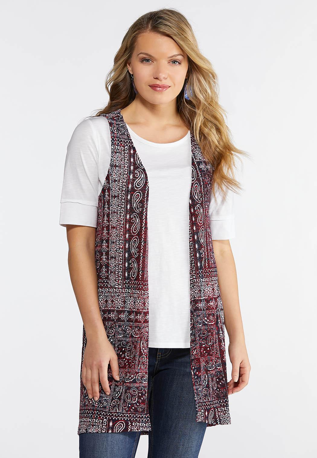 Plus Size Patchwork Paisley Hacci Vest