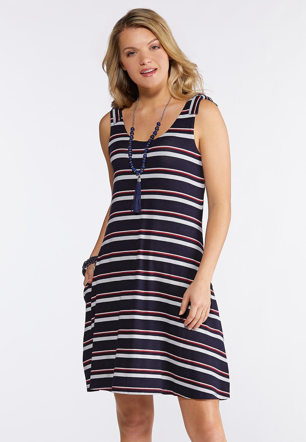 Stripe Tie Shoulder Knit Dress