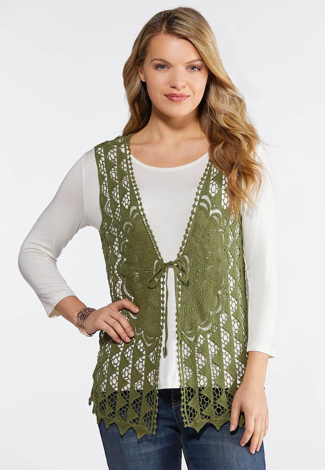 Plus Size Crochet Tie Front Vest