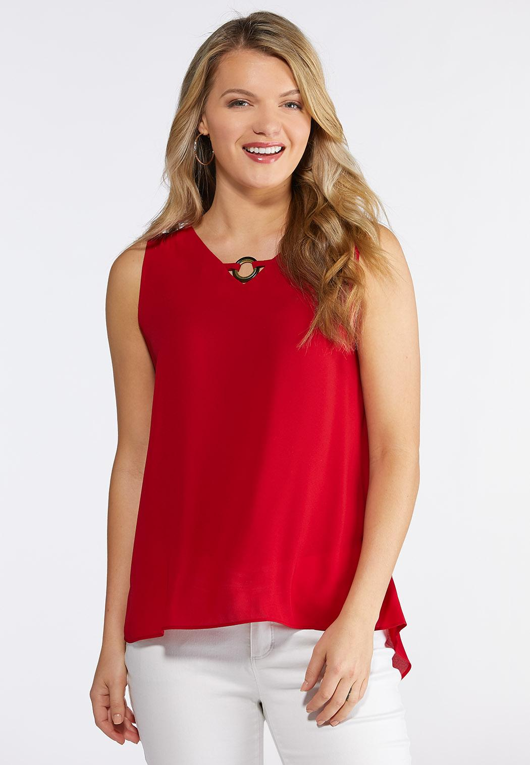 Plus Size Pleated Back Swing Tank