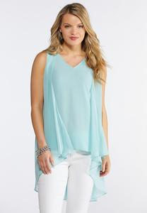 Plus Size High-Low Layered Tank