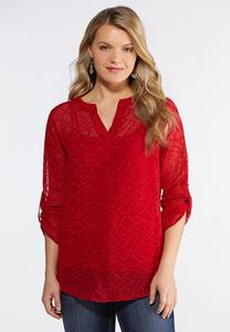 Plus Size Jacquard Pullover Top