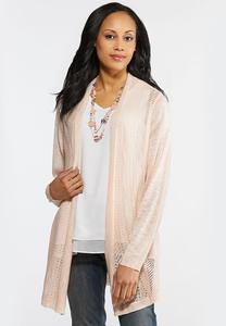 Plus Size Open Knit Tunic Cardigan