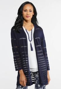 Plus Size Shadow Stripe Cardigan