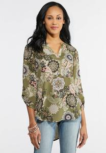 Olive Floral Medallion Top