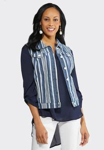 Plus Size Striped Denim Vest